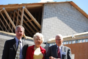 Dr. Richard Clarkson, Headmaster, with Evelyn & Doug Brush during a building expansion project which added a new wing to the school in 2009, allowing the school to welcome more students and open a Preschool and Pre-K program.