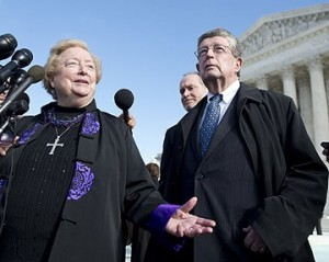 Attorney Philip Moran stands outside US Supreme Court with lead plaintiff Eleanor McCullen, a longtime pro-life sidewalk counselor. Other attorneys who worked tirelessly on this include Michael DePrimo and Mark Rienzi.  [Photo: Aol.com]