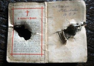 The Bible that Arthur Ingham carried in his chest pocket. It saved his life when a piece of shrapnel hit it. (Photo © Bible Society/Clare Kendall)