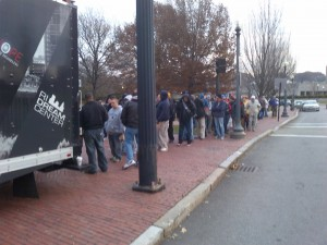 "People standing in line in front of the State House to receive their ""Winter Survival Back Pack"" in 2013. Hope for the Homeless gave away 350 last year and will hit 500 this year, their 8th year in a row!"