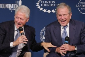 Bill Clinton and George W. Bush
