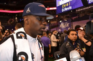 """Football is """"a game that God blesses us with to use ... for His glory and His work,"""" said Duron Harmon, a defensive back for the New England Patriots. Harmon was one of several players who shared about their faith during Super Bowl Media Day (Jan. 27). Photo by Shawn Hendricks/BP"""