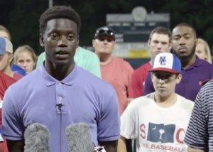 Charleston Southern University sophomore Chris Singleton addresses reporters less than a day after his mother was killed by an assailant in a downtown Charleston church.