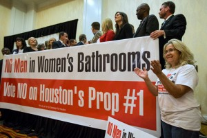 Rita Palomarez, right, cheers as voting results are announced during an election watch party attended by opponents of the Houston Equal Rights Ordinance on Tuesday, Nov. 3, 2015, in Houston. ( Brett Coomer / Houston Chronicle )