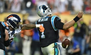 Cam Newton rushed by Broncos Superbowl MVP-Von-Miller