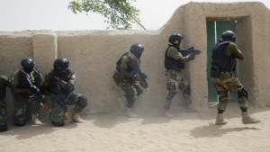 Nigerian special forces participate in an hostage rescue exercise at the end of the Flintlock exercise in Mao, Chad, Saturday, March 7, 2015. The U.S. military and its Western partners conduct this training annually and set up plans long before Boko Haram began attacking its neighbors Niger, Chad and Cameroon. (AP Photo/Jerome Delay)