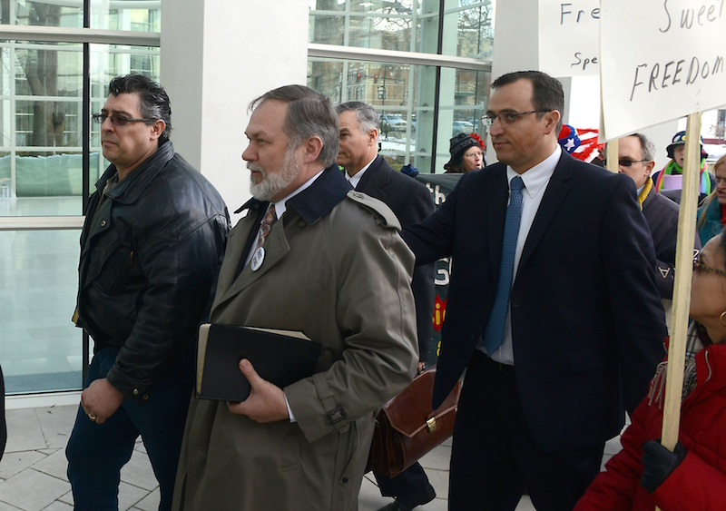 1-7-2013 -Springfield - Federal Courthouse steps with Pastor Scott Lively and supporters before he went into the court to argue for dismissal of charges.