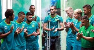 Survivor held Bible - Chapecoense crash survivor Neto talks to youth players who will now be in the first team