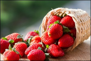 Strawberries contaminated with pesticides