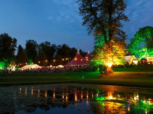 Dusk during the 2016 Greenbelt Festival on the grounds of the  Boughton House in Northamptonshire, England.  Photo courtesy of Greenbelt Festival