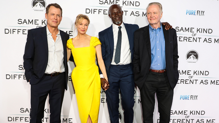 Mandatory Credit: Photo by Chelsea Lauren/Variety/REX/Shutterstock (9134653bu) Greg Kinnear, Renee Zellweger, Djimon Hounsou and Jon Voight 'Same Kind of Different as Me' film premiere, Arrivals, Los Angeles, USA - 12 Oct 2017