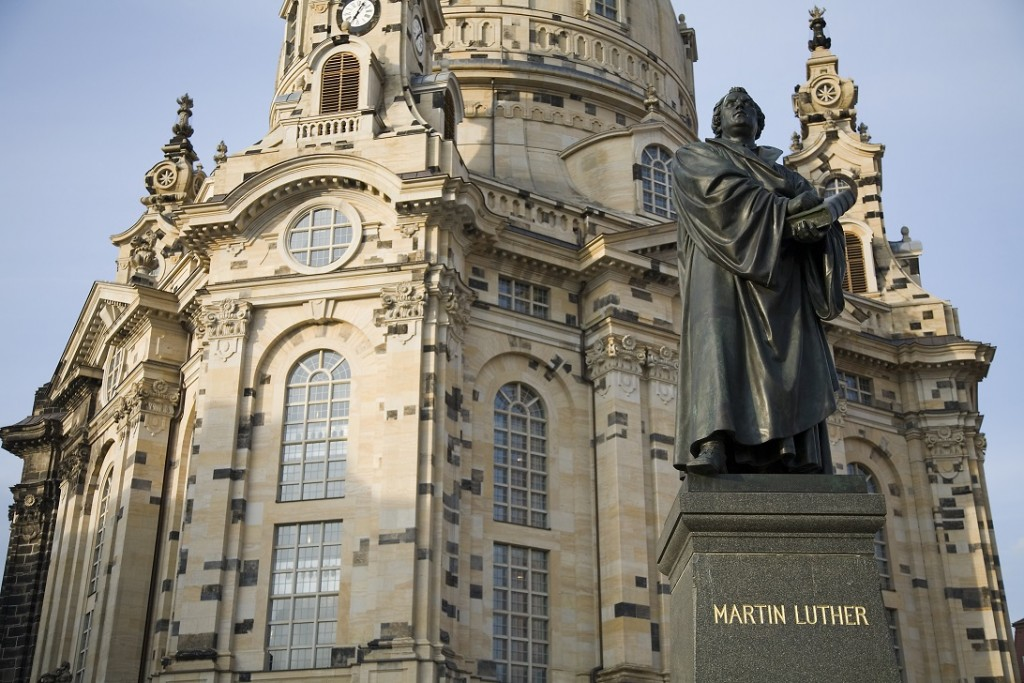 Statue of Martin Luther, in fron of the Marienkirche. Dresden, Germany