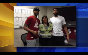 NBA Twin Brothers with thier mother