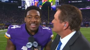 Caption: (Screenshot: Fox Sports) Minnesota Vikings wide receiver Stefon Diggs speaks during a post-game interview with Fox Sports after the Vikings victory over the New Orleans Saints in Minneapolis, Minnesota on Jan. 14, 2018.
