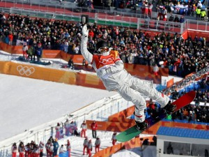Caption: Kelly Clark, of the United States, jumps during the women's halfpipe finals at Phoenix Snow Park at the 2018 Winter Olympics in Pyeongchang, South Korea, Tuesday, Feb. 13, 2018. (AP Photo/Kin Cheung)