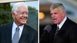"""Caption: [CBN News] Evangelist Franklin Graham responds to former President Jimmy Carter's recent assertion that Jesus Himself would approve of gay marriage, saying the former president is """"absolutely wrong."""" (Images via CBN News)"""
