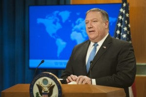 WASHINGTON, DC - AUGUST 16: US Secretary of State Mike Pompeo announces the creation of the Iran Action Group at the Department of State on August 16, 2018 in Washington, DC. The Trump administration announced the forming of an Iran Action Group that will coordinate and manage U.S. policy toward Iran after withdrawing from the Iran nuclear deal.   Rod Lamkey/Getty Images/AFP