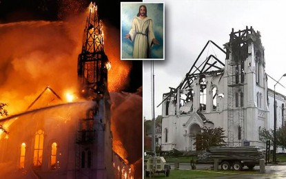 Jesus painting survives fire at historic church near Boston