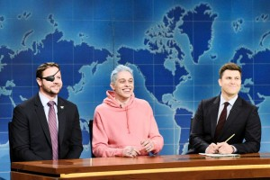 "Caption: Dan Crenshaw, left, appears with Pete Davidson, center, and Colin Jost on ""Saturday Night Live"" on Nov. 10. (Will Heath/NBC)"