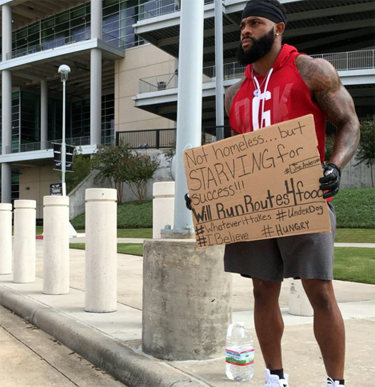 Christian NFL player held up sign outside stadium looking for work, God answered