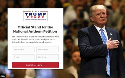 Trump Takes Matters Into His Own Hands, Releases Petition Calling on NFL Players to Stand