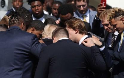 Alabama Football Team Prays for Donald Trump at White House National Championship Ceremony