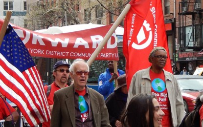 Communists celebrate May Day worldwide with Hammer and Sickle flags
